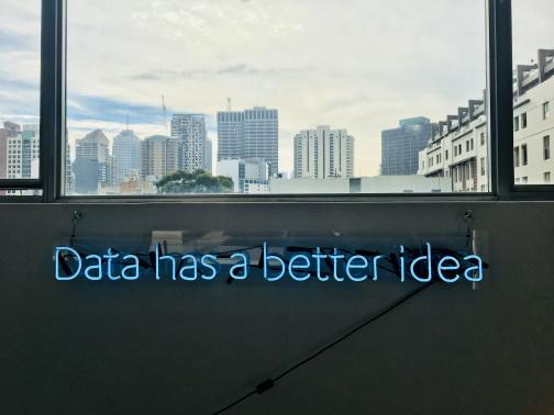 Next Best Action Marketing by neon light 'Data has a better idea'
